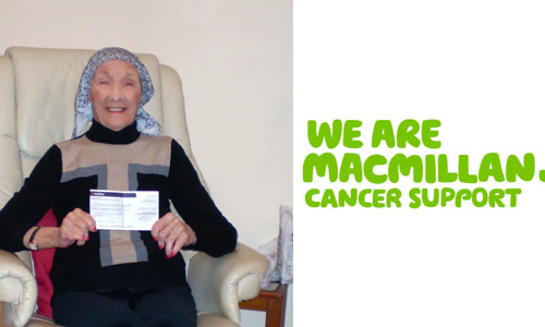 Macmillan Cancer Support Cheque