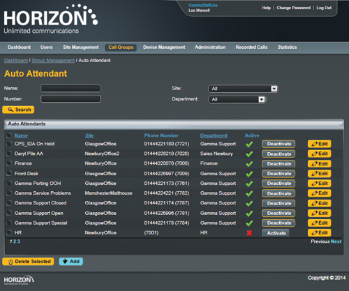 Horizon Hosted Auto Attendant